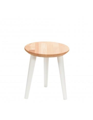 Round solid beech stool - 1